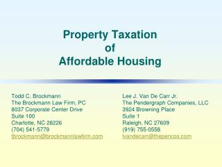 Property Taxation of Affordable Housing