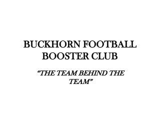 BUCKHORN FOOTBALL BOOSTER CLUB