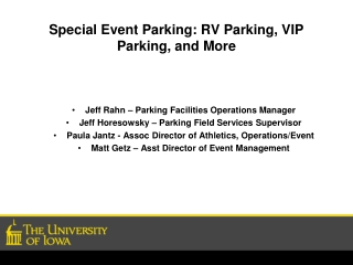 Special Event Parking: RV Parking, VIP Parking, and More