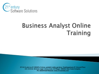 Business Analyst  Training