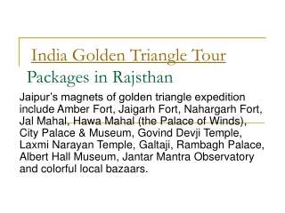 Golden Triangle Tour and Heritage of Rajasthan