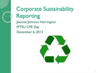 Corporate Sustainability Reporting
