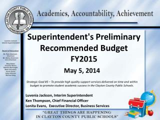 Superintendent's Preliminary Recommended Budget  FY2015