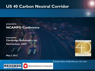 US 40 Carbon Neutral Corridor