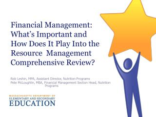 Financial Management: What's Important and How Does It Play Into the Resource  Management Comprehensive Review?