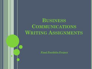 Business Communications Writing Assignments