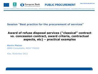 "Session ""Best practice for the procurement of services"""