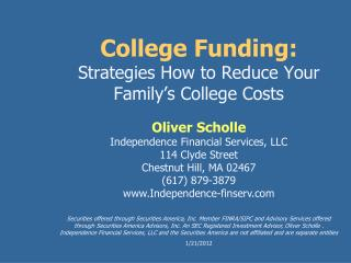 College Funding: Strategies How to Reduce Your Family's College Costs