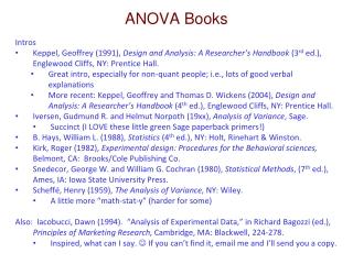 ANOVA Books