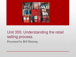 Unit 355: Understanding the  retail  selling process.