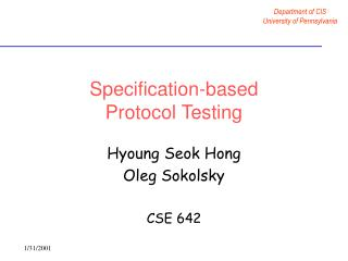 Specification-based  Protocol Testing