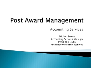 Post Award Management
