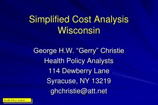 Simplified Cost Analysis Wisconsin