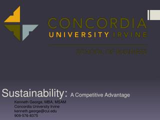 Sustainability:  A Competitive Advantage