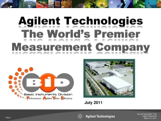 Agilent Technologies The World's Premier Measurement Company