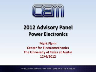 2012 Advisory Panel Power Electronics