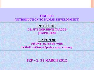 FEM 3001 (INTRODUCTION TO HUMAN DEVELOPMENT)