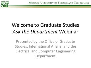 Welcome to Graduate Studies  Ask the Department  Webinar