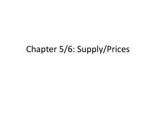 Chapter 5/6: Supply/Prices