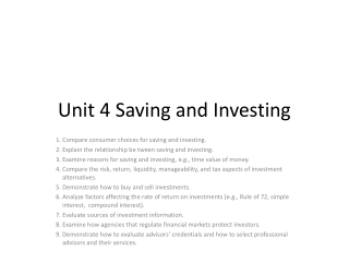 Unit 4 Saving and Investing