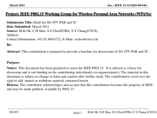 Project: IEEE P802.15 Working Group for Wireless Personal Area Networks (WPANs) Submission Title: Draft for SG 4TV PAR a