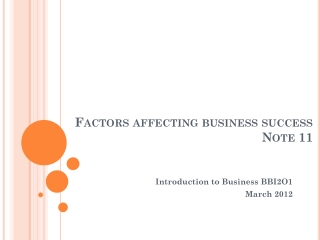 Factors affecting business success Note 11