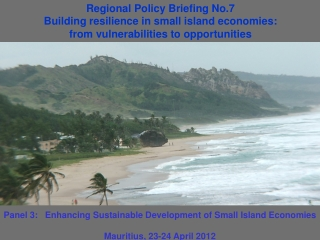 Panel 3:   Enhancing Sustainable Development of Small Island E conomies Mauritius , 23-24 April 2012