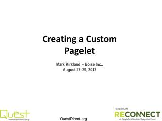 Creating a Custom Pagelet