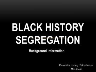 Black History Segregation