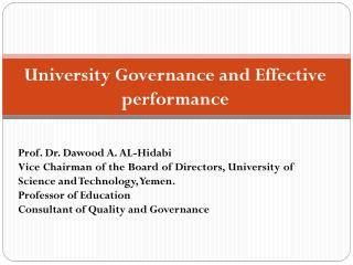 University Governance and  Effective performance