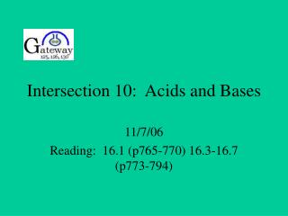 Intersection 10:  Acids and Bases