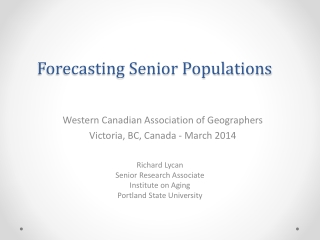 Forecasting Senior Populations