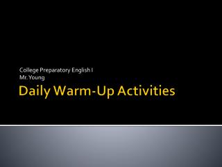 Daily Warm-Up Activities