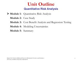 Unit Outline Quantitative Risk Analysis