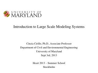 Introduction  to Large Scale Modeling Systems