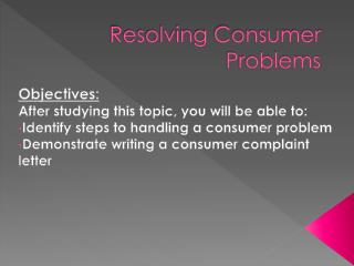 Resolving Consumer Problems