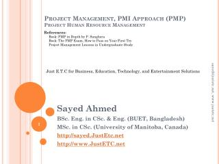 Project Management, PMI Approach (PMP) Project Human Resource Management