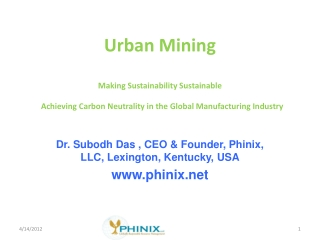 Urban Mining Making Sustainability Sustainable Achieving Carbon Neutrality in the Global Manufacturing Industry