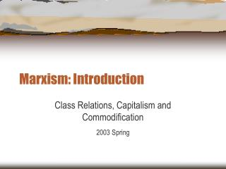 Marxism: Introduction