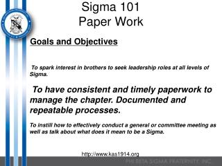Sigma 101 Paper Work