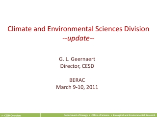 Climate and Environmental Sciences Division --update--