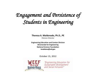 Engagement and Persistence of Students in Engineering