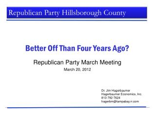 Republican Party March Meeting March 20, 2012