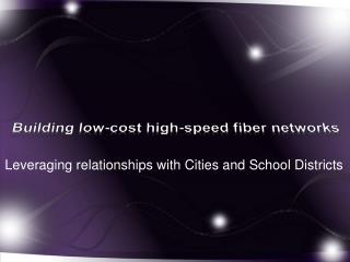 Building low-cost high-speed fiber networks