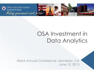 OSA  Investment in Data Analytics