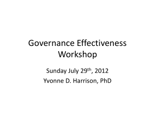 Governance Effectiveness Workshop