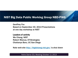 NIST Big Data Public Working Group NBD-PWG