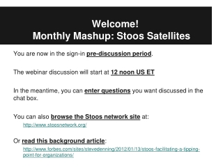 Welcome!  Monthly  Mashup :  Stoos  Satellites