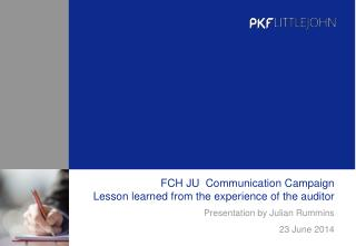 FCH JU  Communication Campaign Lesson learned from the experience of the auditor