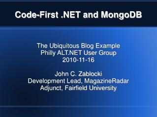 Code-First .NET and MongoDB